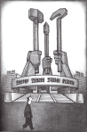Delisle walks in front of the Monument to the Korean Workers Party (page 97)